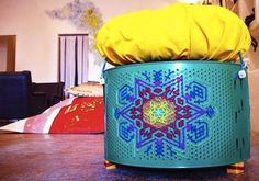 Old washing machine drum upcycled into seating in Lebanon