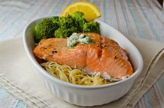 Citrus baked salmon and cilantro butter - might use either lemon or lime rather than orange