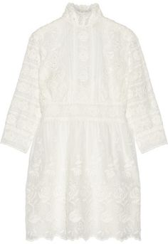 Marc Jacobs - Broderie Anglaise Cotton-voile Mini Dress - Ivory