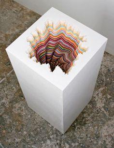 "Artwork: Jen Stark, Pedestal, 2011, Hand-cut paper, wood, foamcore, 40"" x 18"" x 18"""