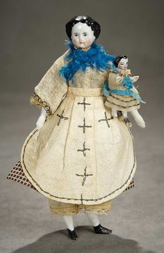 """A Time For Gratitude"" - Sunday, November 13, 2016: 26 All-Original German Porcelain Doll with Tiny Doll"