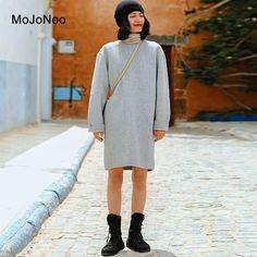 89aeb2c0a5 MOJONOO Casual Wool Dress