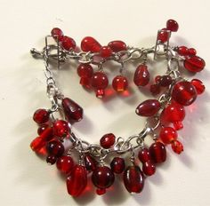 Charm Bracelet With Red Glass Dangles | SunCreations - Jewelry on ArtFire