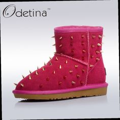 49.08$  Watch here - http://ali0az.worldwells.pw/go.php?t=32768396588 - Odetina Winter Genuine Leather Women Wool Australia Classic Snow Boots Flat Rivet Shoes Ankle Booties Keep Warm Thickened Fur 49.08$