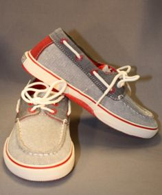 One of our favorite shoes for Spring and Summer! This canvas boat shoe by Sperry is adorable in red and gray, and looks great with shorts or pants. Such a fun shoe! Boys Casual Shoes, Kid Shoes, Red And Grey, Gray, Canvas Boat Shoes, Shoe Company, Jumping Jacks, Little Man, Sperrys