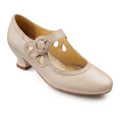 Valetta Shoes  - Vintage chic ladies dress shoes - Beige  Beige Lizard size 11 $62.00 AT vintagedancer.com
