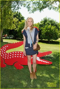 Loving the colorblocking on Diane Kruger's dress. She's at the Lacoste L!ve pool party at Coachella #2012