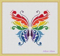 Cross Stitch Pattern Butterfly Rainbow fantasy by HallStitch