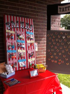 Prize board and tattoo booth for carnival party