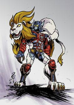 """Lio Convoy/Leo Prime from the Japanese spinoff to Transformers: Beast Wars, """"Beast Wars II"""" (or """"second""""). Lion Sunflower Of Justice Transformers Characters, Transformers Optimus Prime, Kimba The White Lion, Transformer 1, Cartoon Games, War Machine, Look Cool, Animation, Deviantart"""