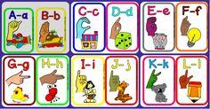Alfabeto ilustrado en la lengua de signos para niños y niñas.