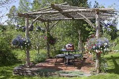 Rustic Patio Pergola - An outdoor room reminiscent of a log cabin is created by… Building A Pergola, Pergola Plans, Rustic Gardens, Outdoor Gardens, Outdoor Projects, Garden Projects, Gazebos, Arbors, Rustic Pergola