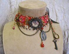 Heavenly Flowers: Vintage Assemblage CHOKER Crimson Beaded with Vintage Angel Tableau Renaissance Bride One of a Kind OOAK