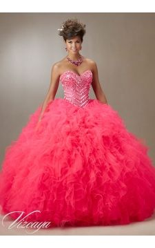 Quinceanera Dress 89072 Jeweled Beading on a Ruffled Tulle Ball Gown