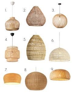 Wicker rattan wired or pendant basket lights Wicker Pendant Light, Diy Pendant Light, Pendant Lights, Contemporary Light Fixtures, Diy Light Fixtures, Ceiling Hooks, Basket Lighting, Thrifty Decor Chick, Rattan Basket