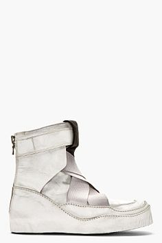 JULIUS White Panelled Dusty Plaster High-Top Sneakers