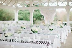 white reception with pops of black chevron   Amy Arrington #wedding