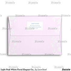Shop Light Pink White Floral Elegant Custom Address Envelope created by LeonOziel. Envelope Sizes, Addressing Envelopes, Personalized Stationery, Day Up, Thank You Cards, Colorful Backgrounds, Pink White, Greeting Cards, Elegant