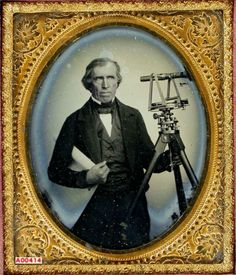 ca. 1858, [daguerreotype portrait of a surveyor with equipment] via the Daguerreian Society, William J. Schultz Collection