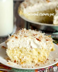 A delicious recipe for Coconut Cream Pie that has an amazing coconut pudding layer, cool whip layer and topped with toasted coconut shreds. ...