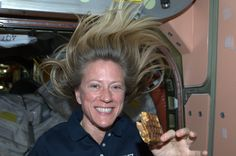 We've discovered heaven on the International Space Station: peanut butter and chocolate sandwiched between two waffles and heated in our food warmer. Perfect.  KN from space.