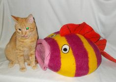 Cat Bed Cat Cave Cat  House Felted Wool. Cat Mat For cats and small dogs. TROPICAL FISH 2