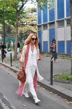 Elina Halimi in White, Paris