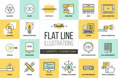 The big pack of flat line illustrations by Bloomua.