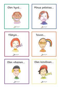 Tunnetaidot - Värinautit Learn Finnish, Finnish Language, Teaching, Activities, Feelings, Comics, School, Opi, Montessori Activities