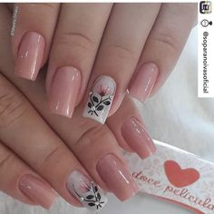 french tip nails Diy Nails, Cute Nails, Manicure, Flower Nail Designs, Nail Art Designs, Stylish Nails, Trendy Nails, Nails Only, Best Acrylic Nails
