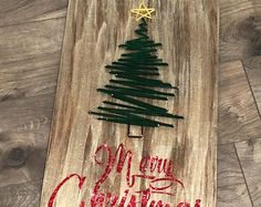 Christmas Tree String Art and Stencil Sign - Christmas Sign - Holiday Sign - Painted Sign - Yarn Art - Plan B Decor