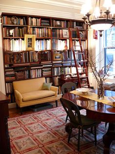 Best Ideas Home Library Room Porches Home Library Rooms, Home Libraries, Library Books, Library Study Room, Cozy Library, Library Ladder, Dream Library, Dining Room Office, Dining Room Design