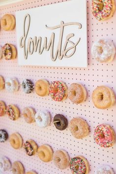 """""""Good Morning America"""" created our own donut wall, which turned out pretty sweet if we """"donut"""" say so ourselves. Anniversary Party Foods, Anniversary Party Decorations, Wedding Decorations, Wedding Ideas, Birthday Decorations, Wedding Planning, Wedding Arch Rental, Wedding Rentals, 30th Birthday Party Themes"""