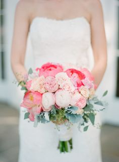 We're tickled pink from this beautiful bouquet: http://www.stylemepretty.com/little-black-book-blog/2015/01/09/rustic-chic-ryland-inn-wedding/ | Photography: Caroline Frost - http://carolinefrostphotography.com/