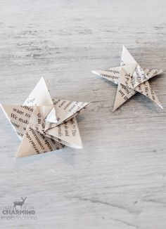 Frugal, charming, and so lovely, these book page star ornaments are the perfect DIY for your Christmas Tree! Get the full Origami tutorial here!