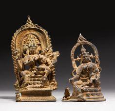 Uma Maheswara and female deity, pala bronzes from Bengal