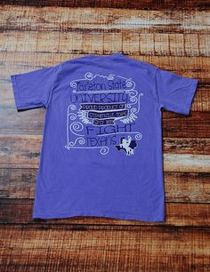 You love a frocket? This is the perfect one for you, it has Tarleton Texans on it! This is a purple comfort colors t-shirt.