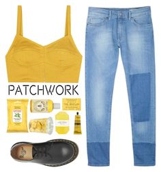 """""""All Patched Up: Patchwork"""" by mirrours ❤ liked on Polyvore featuring Isa Arfen, Burt's Bees, Pelle, Aesop and Dr. Martens"""