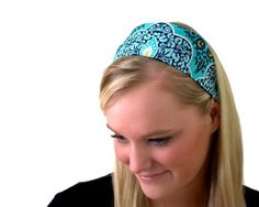 Wide Headband Pressed Flowers Beautiful Aqua Print Amy Butler Fabric -- You can get additional details at the image link.(This is an Amazon affiliate link and I receive a commission for the sales)