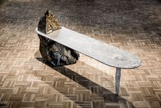 Lunar Bench Malmesburg slate, recycled aluminium 190 x 45 x 48.5 cm One-Off Slate Stone, Wall Mounted Mirror, Outdoor Furniture, Outdoor Decor, Sun Lounger, Skateboard, Furniture Design, Recycling, Southern