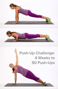 Push-Up Circuit Challenge: 4 Weeks to 50 Push-Ups.  Five variations. Good pics and description of ea.   rest every 2 days.  Very Doable!!!