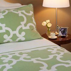 Great site for designer bedding   The Noe Green Duvet Cover = craneandcanopy
