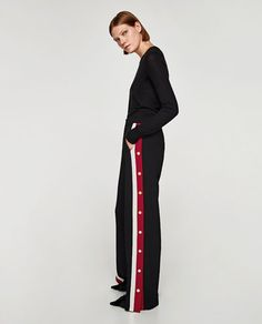 PYJAMA-STYLE TROUSERS WITH SIDE STRIPES-View all-TROUSERS-WOMAN | ZARA United States