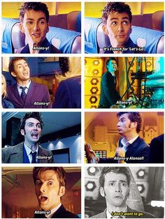 allons-y! Idont want to go.-David Tennant # Doctor Who Doctor Who, 10th Doctor, David Tennant, Geronimo, Rose Tyler, Sherlock, Supernatural, Cry Now, Don't Blink