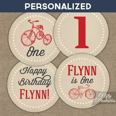 Bicycle Birthday Cupcake Toppers  Printable by NiftyPrintables