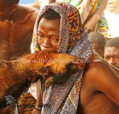 Voodoo in Benin, in trance with a killed goat in his mouth