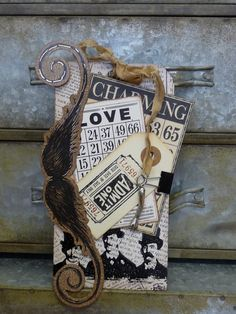 moustache steampunk theme tag altered art tag card tag mens tag valentine birthday gift