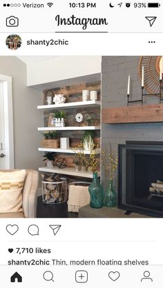 Wood wall behind shelves or paint the wall black