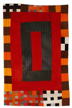 Orange Rectangles with Black and White by Eleanor McCain
