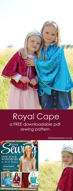 In this FREE step-by-step illustrated tutorial you will learn how to make a Royal Cape perfect for dressing up and World Book Day Costumes. Kids Cape Pattern, Cloak Pattern, Free Pattern, Cape Sewing Pattern, Sewing Patterns For Kids, Sewing For Kids, Baby Sewing, No Sew Cape, Diy Cape